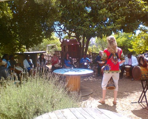 Outdoor drumming workshop with Juma Drums