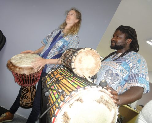 Team Drumming with Charlotte and Dingiswayo Juma